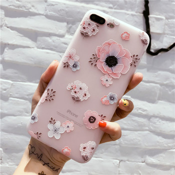 iPhone 7 Plus Case Rubber Flower Soft Silicone Floral Protect Full Cover