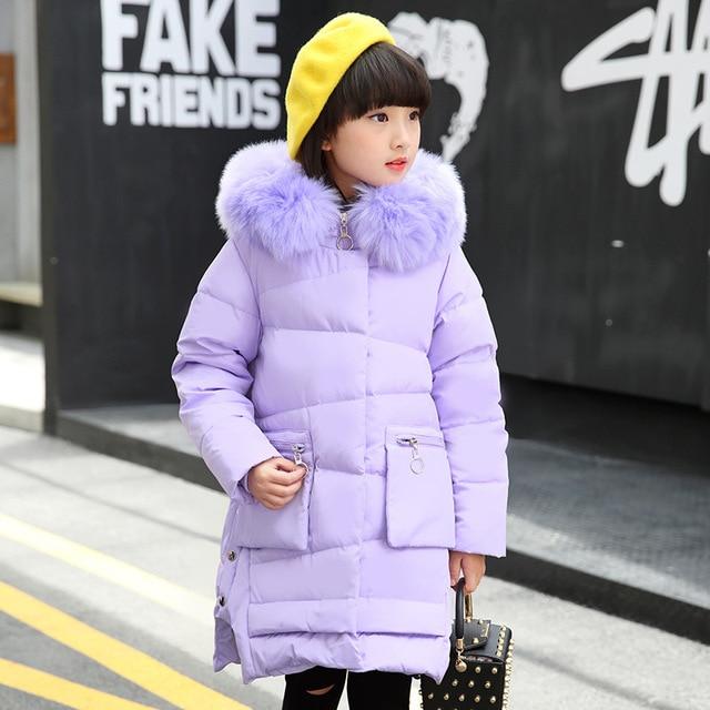 2017, Новая мода зимние пуховые куртки для девочек Детская верхняя одежда зимние Куртки и пиджаки Пальто зимние теплые толстые DUC куртка для девочек