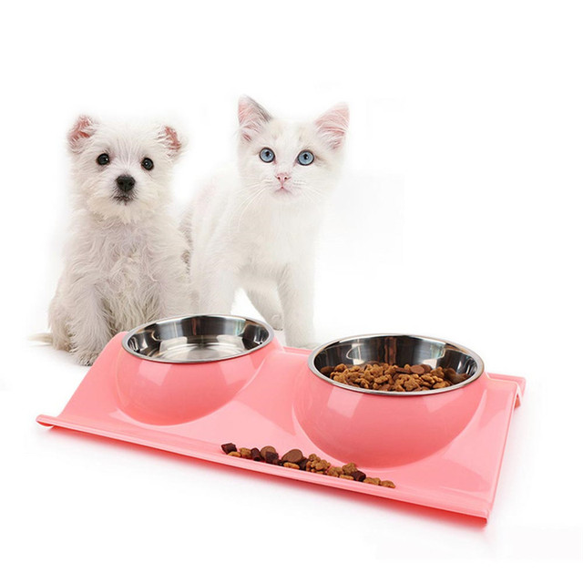 New Stainless Steel Double Pet Dog Cat Diner Dish Bowl Water Food Holder Feeder