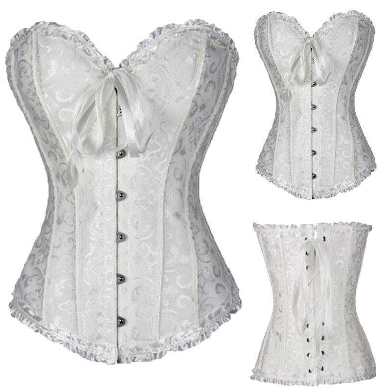 S-6XL Wedding Boned Waist Body Shaper For Women Jacquard Bustier Overbust Lace Up Corset Gothic Buckle Shapewear Ladies Big Size