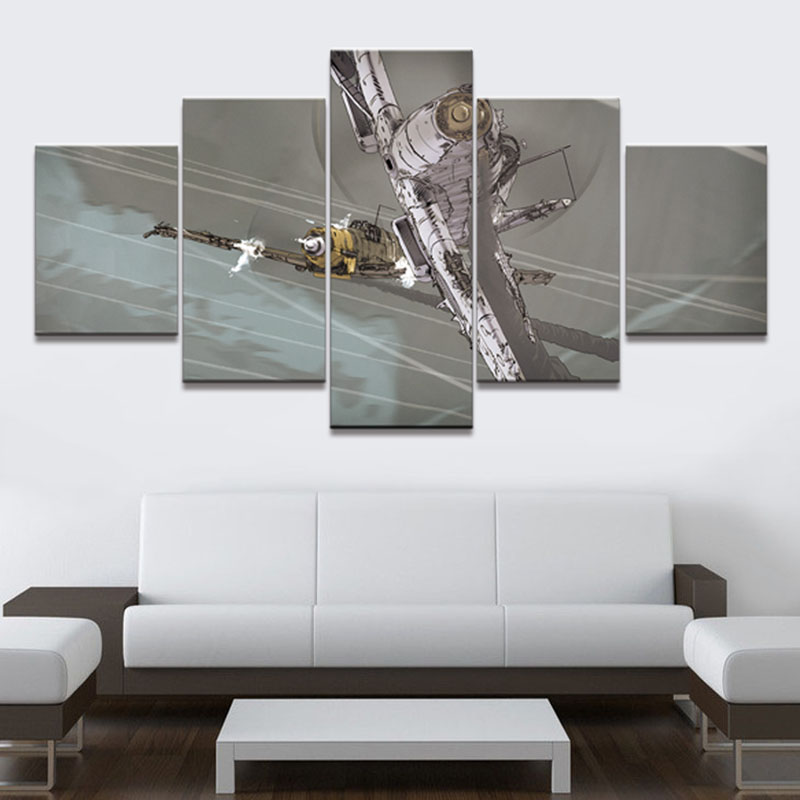 Modern Frames For Paintings Decorative Canvas Art 5 Panel Dogfight ...