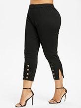Plus Size High Rise Black Capris Pants for Women