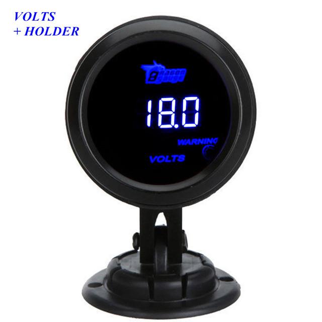 """Apoyo EE 2 """"52mm Voltímetro Negro Cubren los Accesorios Del Coche Universal Digital LED Azul Volt Tensión Gauge + Holder XY01"""