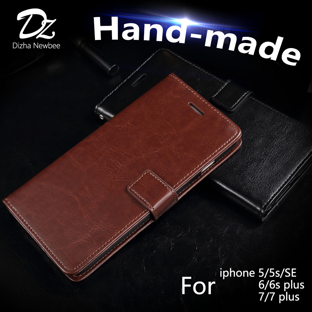 Handgemacht für iPhone 7 Plus Hülle iPhone 6 6s Plus Lederbezug Flip Hülle Luxus iPhone 5 5s SE Kickstand Wallet Phone Card Hülle