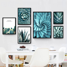 Cactus Flower Nordic Canvas Maleri Wall Art House Decor DIY Green Plant Frisk Moderne Print Living Room Office Backdrop Supply