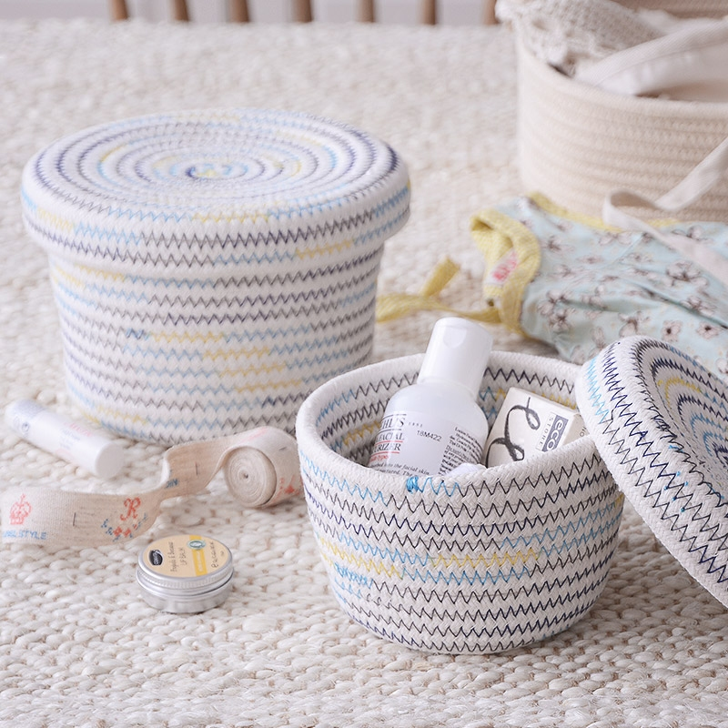 Japanese high-end Cotton knit Makeup Organizer Storage Box Home Sundries Container Storage Box Covers desktop receive a case