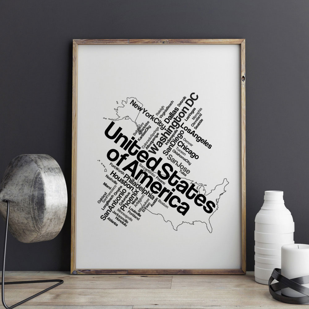 Aliexpress Buy Black USA Map Art Print Pictures Painting City Home Decor Wall Living Room Country Poster Z167 From