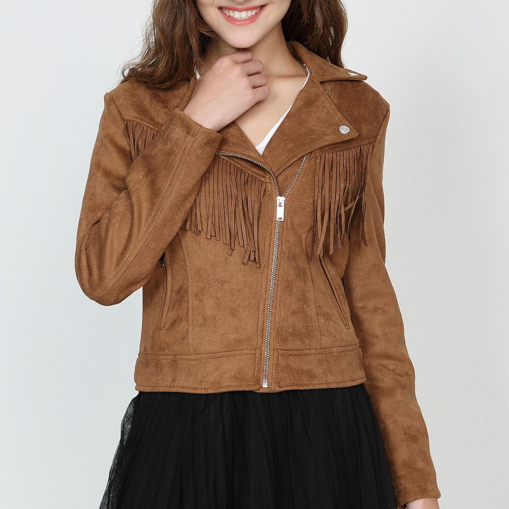 Spring Casual Fashion brand Tassels Artificial   Suede     Leather   Slim Women Short Jacket Thin Coat Chaquetas Mujer brown pink coats