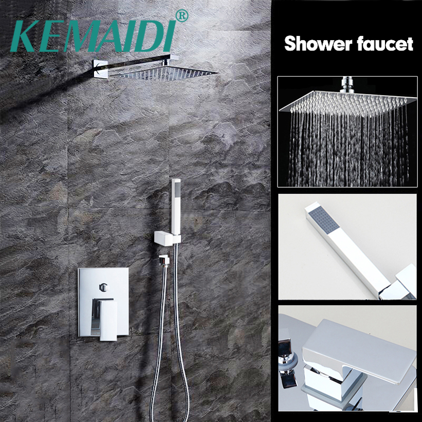 KEMAIDI Bathtub Rainfall Shower head Polished Wall Mounted 360 Degree Swivel Panel Mixer Taps Shower Faucets Set Chrome Finish
