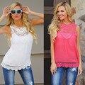 2016 летом женские мода широкий шифон кружева рубашки бесплатная доставка