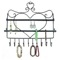 Jewelry Display Wrought Iron Wall Hhanging Hook Earring Rack Warrings Shelf Necklace Bracelet Box For Store
