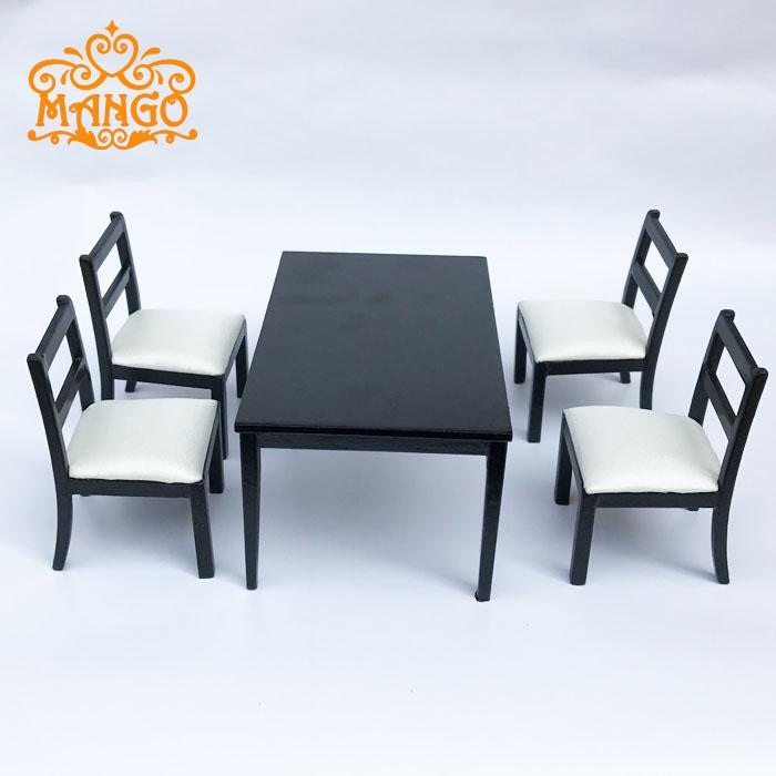 1 12 Dollhouse Dining Room Furniture Set 5pcs Black And White Chairs Tables Free Shipping In Toys From Hobbies On Aliexpress