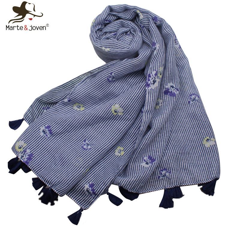 Marte&Joven Luxury Blue Striped Spring Autumn Warm Scarf Shawls For Women Elegant Floral Print Tassels Long Scarves Ladies Hijab