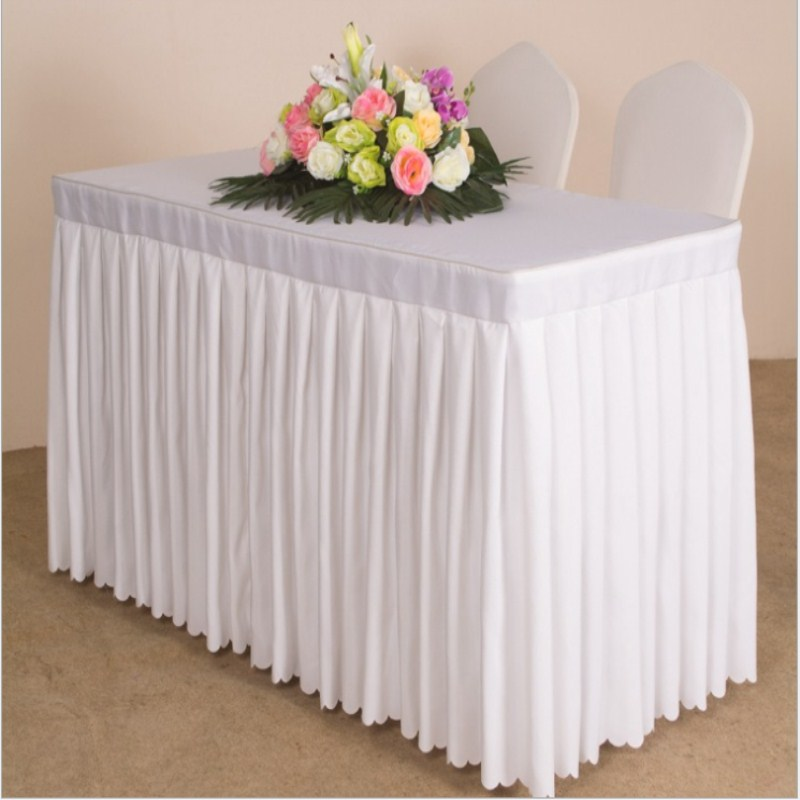 2017 Hot Sale with factory price!! 180*40*75cm  Solid 5pcs polyester table skirt for wedding Conference Office Free Shipping