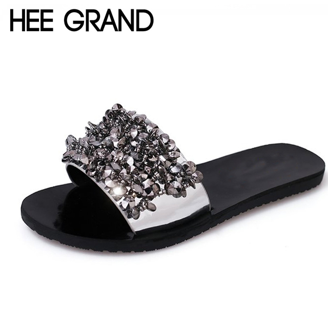 cd3bca6d164f HEE GRAND Bling Bling Summer Gladiator Sandals Sexy Beach Flat Shoes Woman  Gold Flats Casual Women Shoes Size 35-40 XWD6407