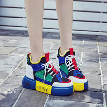 Breathable Trainers Shoes Women Cow Leather Wedges Platform High Heel Party Pumps Casual Lace Up Summer Punk Tennis