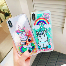 Luxury Glitter Liquid Sand Quicksand Cute Case For iphone 6 6S 7 8 Plus X 10 Transparent Clear Case Cover For iPhone X XS Max XR