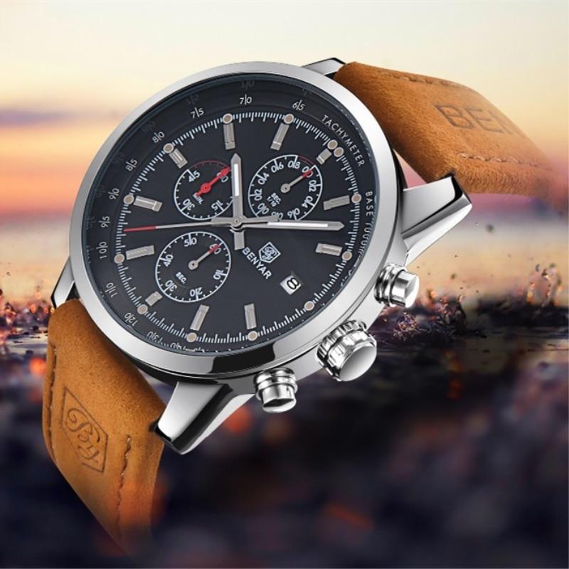 Men s font b Watch b font BENYAR 2017 top Brand Luxury Fashion Chronograph Sport Men
