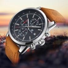 Для мужчин смотреть benyar 2017 Топ люксовый бренд Модные Хронограф Спортивные Для мужчин Часы водонепроницаемый кожа кварцевые часы Relogio Masculino