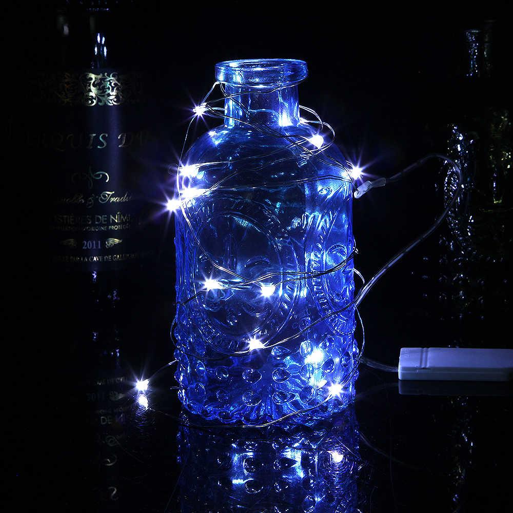 Медный светодиодный Сказочный светильник 2 м 20 светодиодный S светодиодный Новогодняя гирлянда Свадебная вечеринка декоративные лампы для дома CR2032 кнопка на батарейках