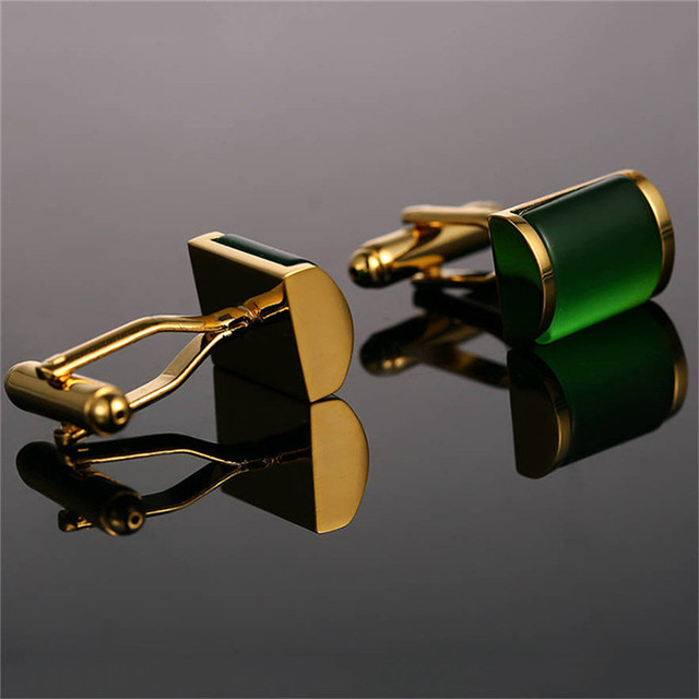 1 Pair Romantic Green Gold Cufflinks Imitation Crystal Cuff Links French Nail Sleeve Button Wedding