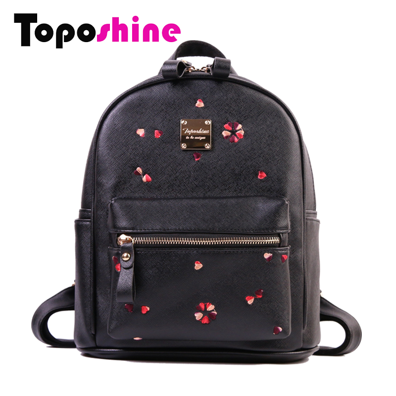 Toposhine Women Backpack Heart Shape Embroidery Bag Cute Gril's Bags Medium Lady Backpack Fashion Solid Female Backpacks 1706 aidocrystal heart shape factory direct sell fashion woman diamond clutch for lady
