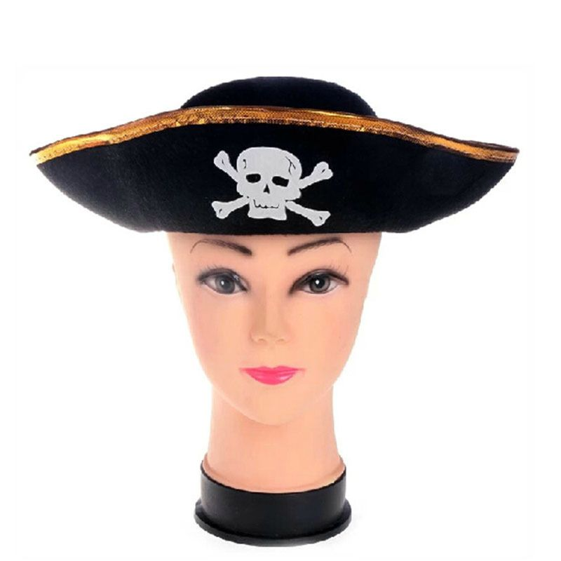 Tri Corner Pirate Hat - Three Cornered Buccaneer Costume Accessory Hat