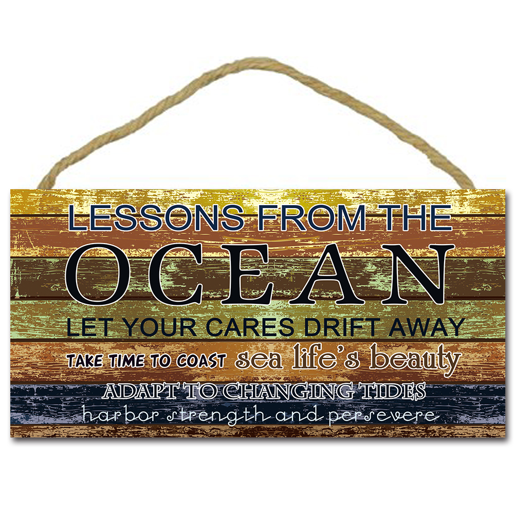Lessons From the Ocean Reclaimed Wooden Sign,Hanging Plaque,Hanging Board ,Tropical Beach Ocean Nautical Decor,Outdoor Signage ...