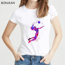 Women clothes 2019 watercolor volleyball girl graphic print tshirt femme korean style t-shirt female tumblr tops tee steetwear(China)