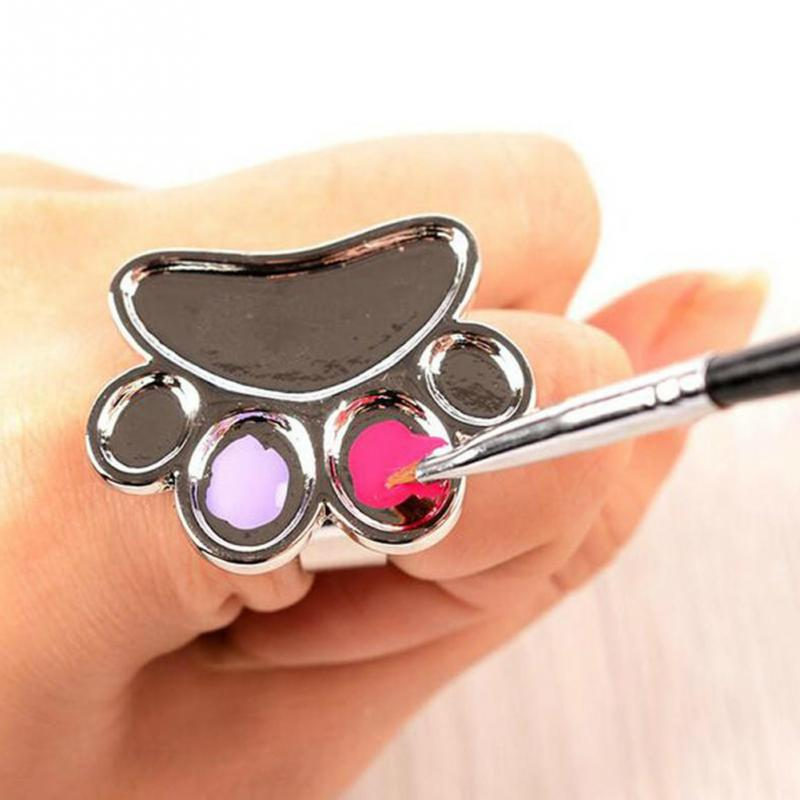 Stainless Steel Painting Palette Ring Nail Art Cosmetic Makeup Gel Mixing Paint Manicure Tool #824 New
