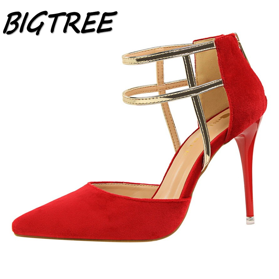 BIGTREE sexy summer women pumps high heels shoes woman Fashion Pointed Toe Hollow out party wedding flock ladies stiletto shoes new 2017 spring summer women shoes pointed toe high quality brand fashion womens flats ladies plus size 41 sweet flock t179