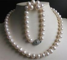 New 8-9MM White Freshwater Cultured Pearl Necklace Bracelet Earrings Set(China)