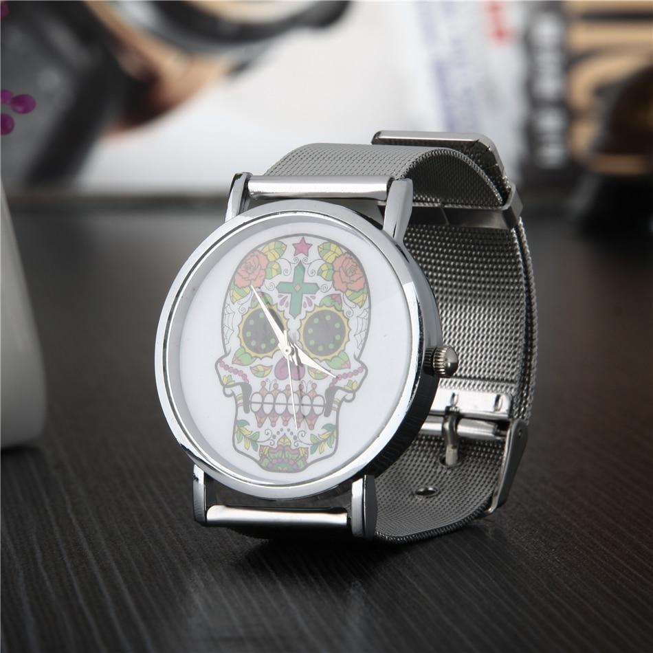 luxury watch women watches men quartz wristwatches ladies skull clock fashion sports stainless steel mesh gold