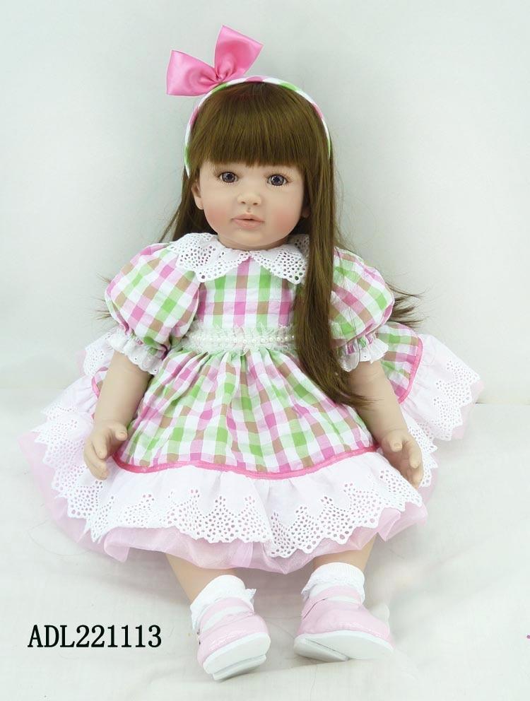 55cm Adora Beautiful Doll Reborn Toddler Princess Doll in Plaid Dress with Bow Headband High Quality Girl Doll Toy Xmas Gifts high quality wedding dress doll 45cm 55cm beautiful elegant pink feather dhl or fedex