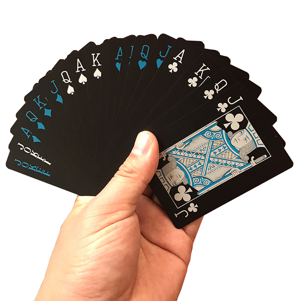 Waterproof Black Plastic Playing Cards, Magic Poker Cards Collection Decks Bridge PVC Playing Card with Paper Box/Tin Box