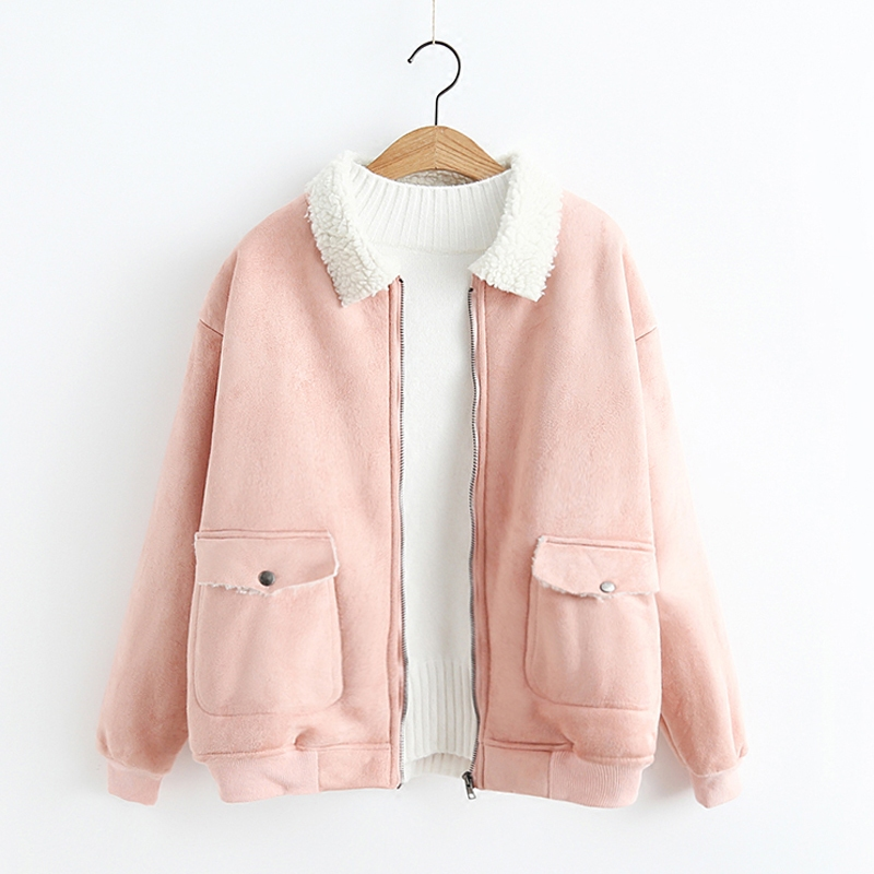 New Autumn Fashion Street Women's Short Suede Cashmere   Jacket   Zipper Bright Colors Ladies Winter   Basic     Jackets   Good Quality