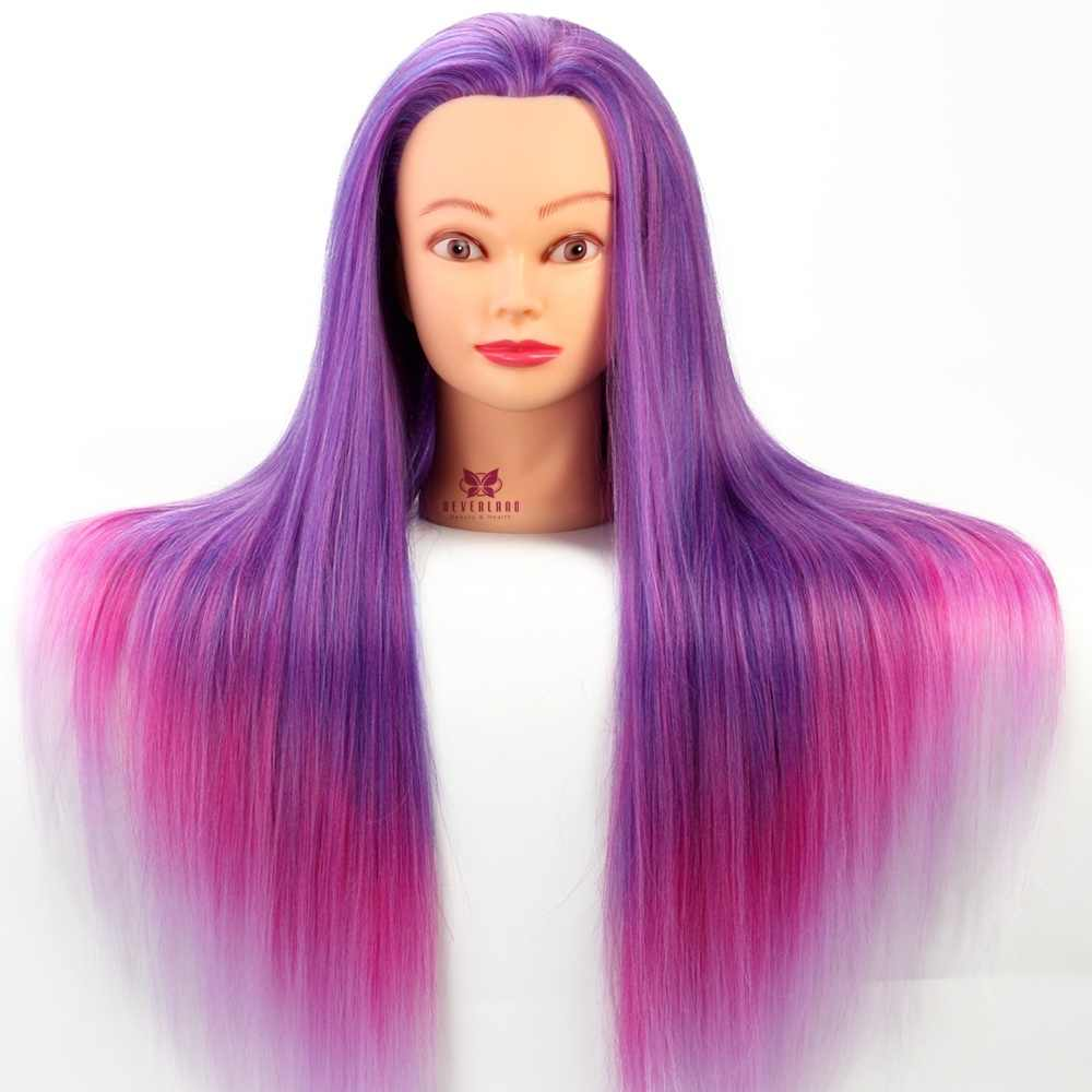 "26"" Purple & Pink Professional Salon Practice Head colorful High Temperature Fiber Hair Model Hairdressing Mannequin + Clamp"
