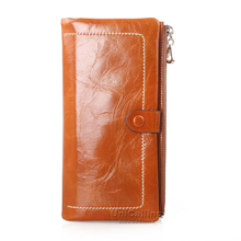 New style Korean style zipper hasp Cow Leather women wallets solid color All-match mini long wallet Oil Wax Cowhide Lady Purse