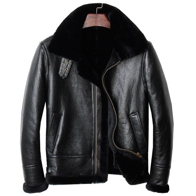Harley Damson Black Men Genuine B3 Bomber Pilot Shearling Coat Plus