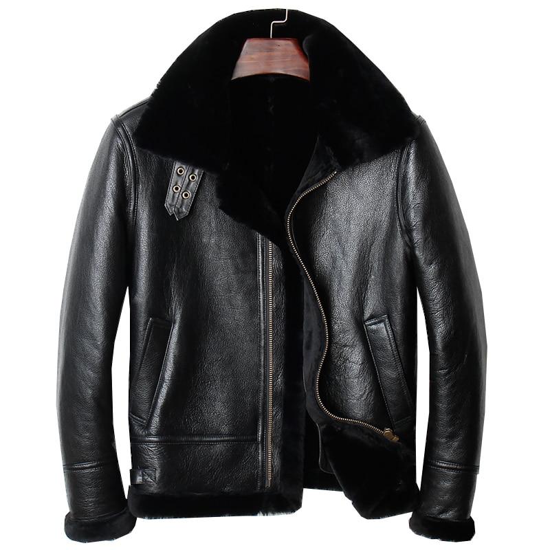 HARLEY DAMSON Black Men Genuine B3 Bomber Pilot Shearling Coat Plus Size 4XL Russian Winter Thick Short Aviator Leather Jacket