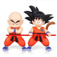 2 Pcs Lot 18cm 7 Inch Height Japan Anime Dragon Ball Z Goku Kuririn PVC Action