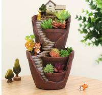 Resin Flower Pot Succulent Plants Pot Pastoral Garden Bonsai Planter Micro Landscape flowerpot Garden Home Decoration 1608