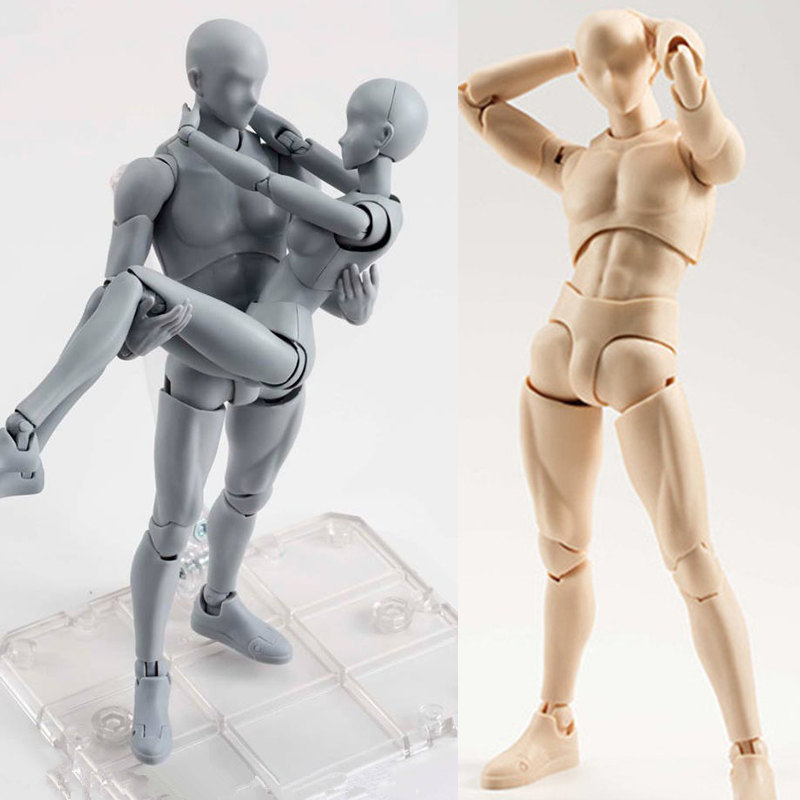 1pcs Figma Archetype He She PVC Action Figure Human Body Joints Male Female Nude Movable Dolls Anime Models Collections 13CM doub k action figure toys artist movable limbs male female 13cm joint body model mannequin bjd art sketch draw figures new style