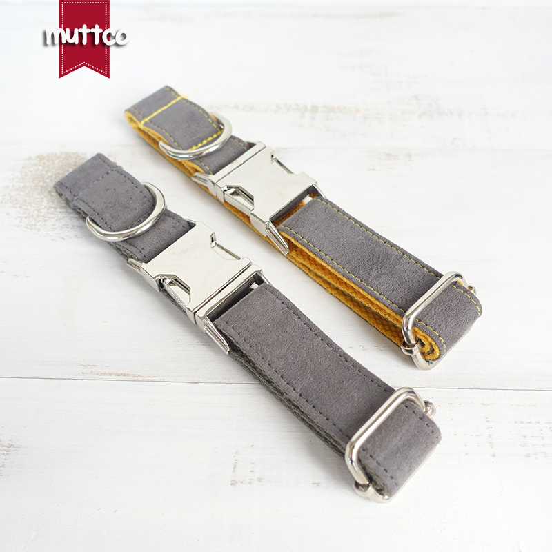 MUTTCO retailing self-designed dog collars GRAY COVER YELLOW and THE DEEP GRAY handmade  ...