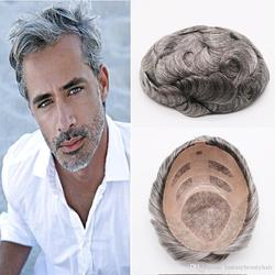 SimBeauty Beste Qualität Natürliche Braun Grau Mono Spitze Toupets Hand Gebunden Haarteile Menschenhaar Ersatz Herren Toupets