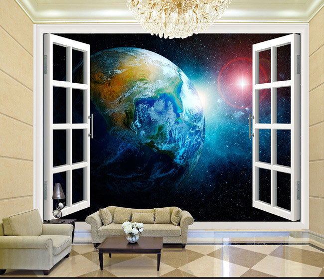 Buy 3d stereo window planet earth for 3d photo wallpaper for living room