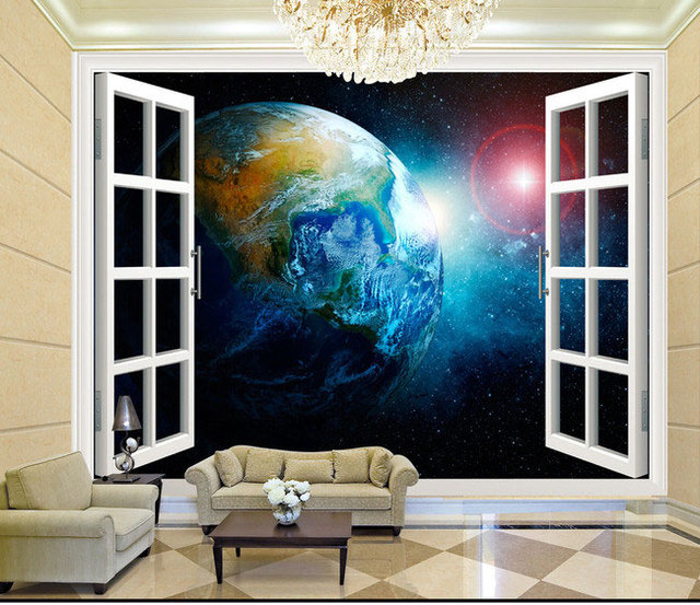 3d stereo  window planet earth from outer space background 3d