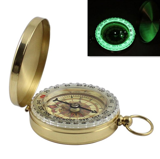New Outdoor Camping Hiking Portable Pocket Brass Gold Color Copper Compass Navigation with Noctilucence Display