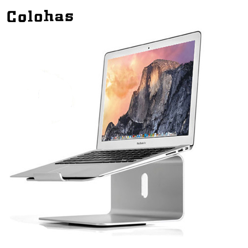 все цены на Aluminum Alloy Notebook Stand Table with 360 Degree Rotating Base Silver Metal Holder for 11 to 17 inch Laptop for Macbook Air онлайн