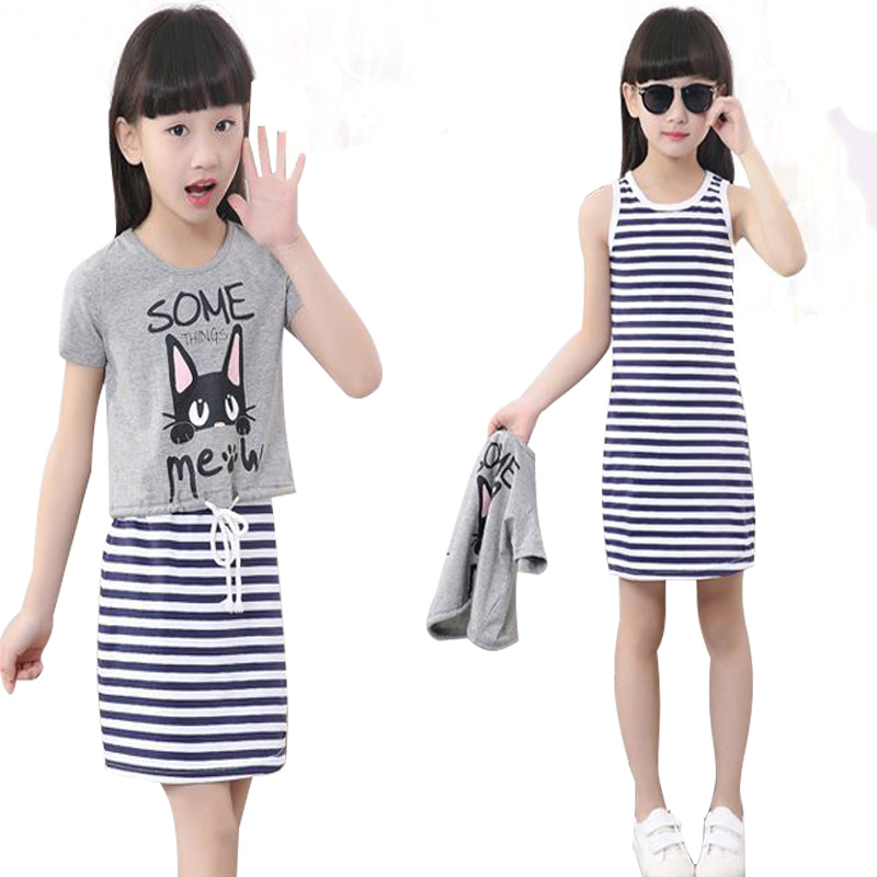 Two Pieces Girl Clothing Fashion Kids Summer Clothes Set Teenage Girls Sets Costume Striped Vest Dress+Short T-Shirt 4-12y